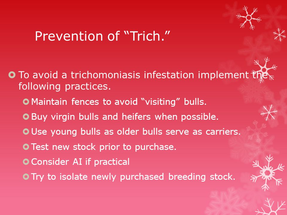 Prevention of Trich.  To avoid a trichomoniasis infestation implement the following practices.