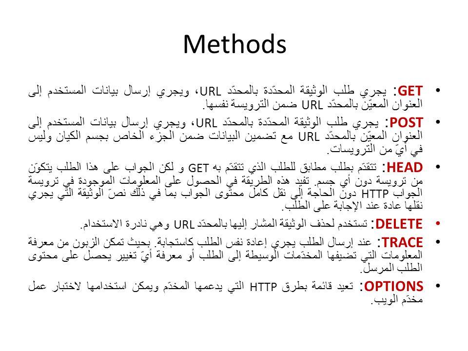 Methods GET: يجري طلب الوثيقة المحدّدة بالمحدّد URL ، ويجري إرسال بيانات المستخدم إلى العنوان المعيّن بالمحدّد URL ضمن الترويسة نفسها. POST: يجري طلب