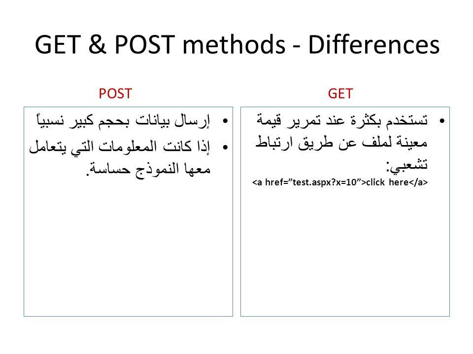 GET & POST methods - Differences إرسال بيانات بحجم كبير نسبياً إذا كانت المعلومات التي يتعامل معها النموذج حساسة. تستخدم بكثرة عند تمرير قيمة معينة لم