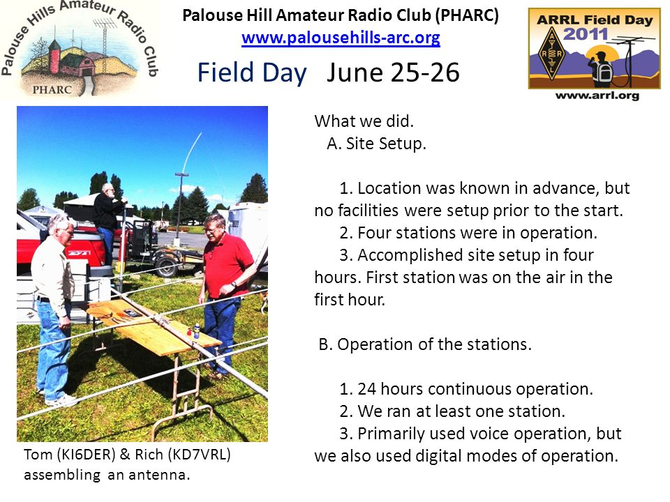 Palouse Hill Amateur Radio Club (PHARC) www.palousehills-arc.org www.palousehills-arc.org Field Day June 25-26 What we did.