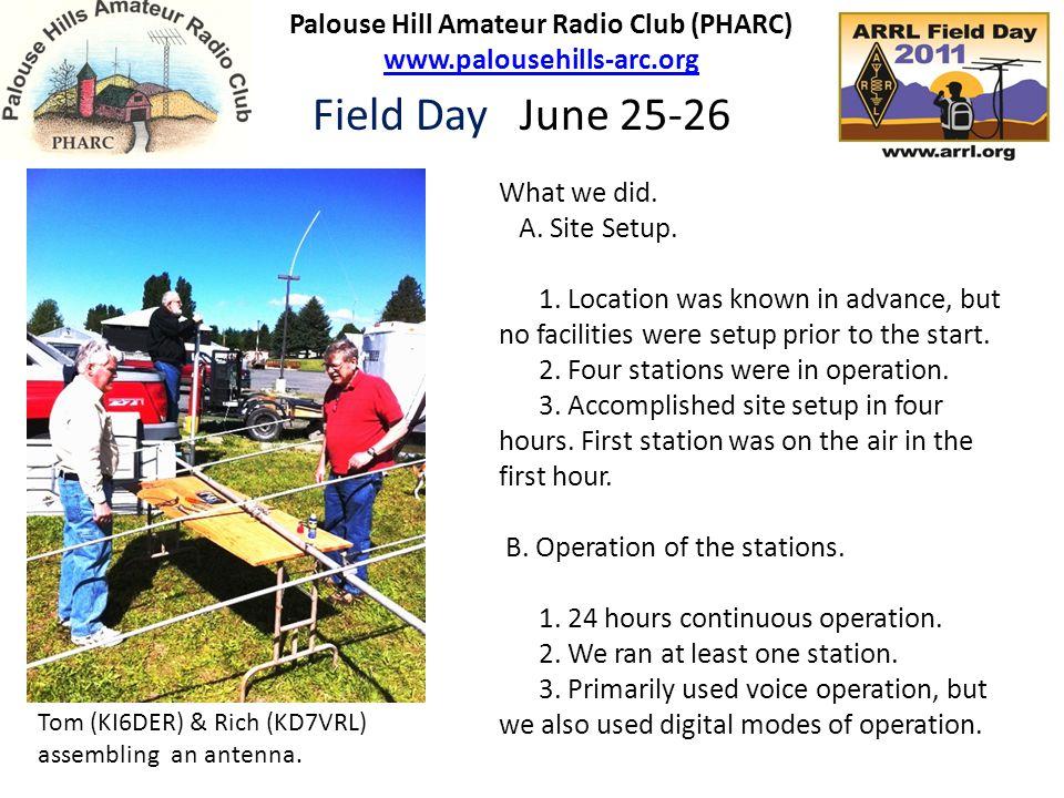 Palouse Hill Amateur Radio Club (PHARC) www.palousehills-arc.org www.palousehills-arc.org Field Day June 25-26 What we did. A. Site Setup. 1. Location