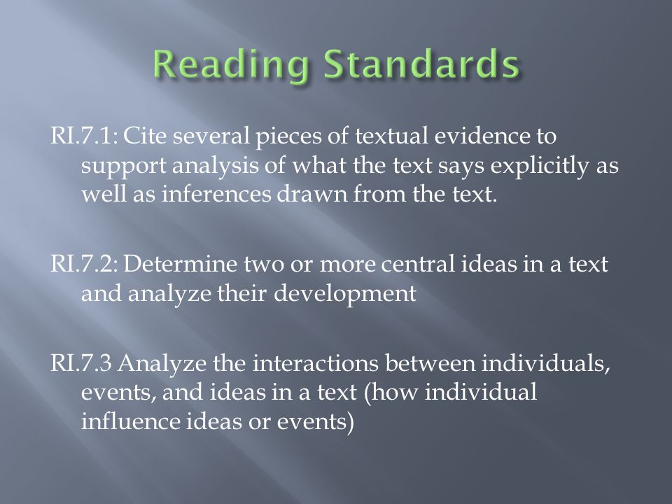 RI.7.1: Cite several pieces of textual evidence to support analysis of what the text says explicitly as well as inferences drawn from the text.