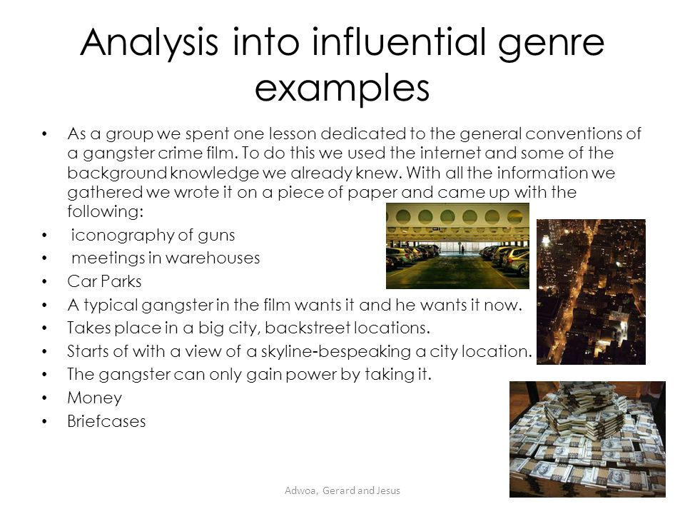Analysis into influential genre examples It is survival of the fittest flashy cars, expensive clothes, and mansions.