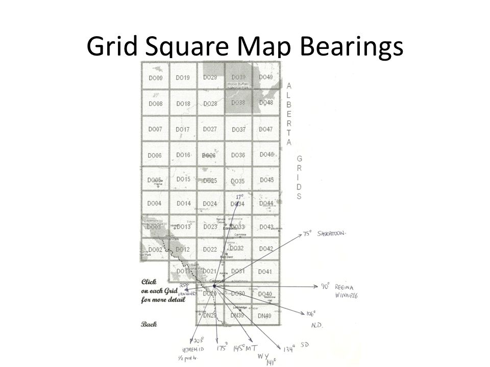 Grid Square Map Bearings