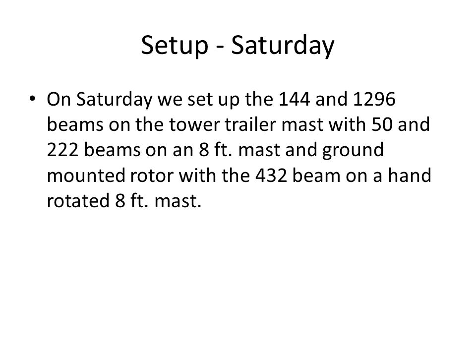Setup - Saturday On Saturday we set up the 144 and 1296 beams on the tower trailer mast with 50 and 222 beams on an 8 ft.