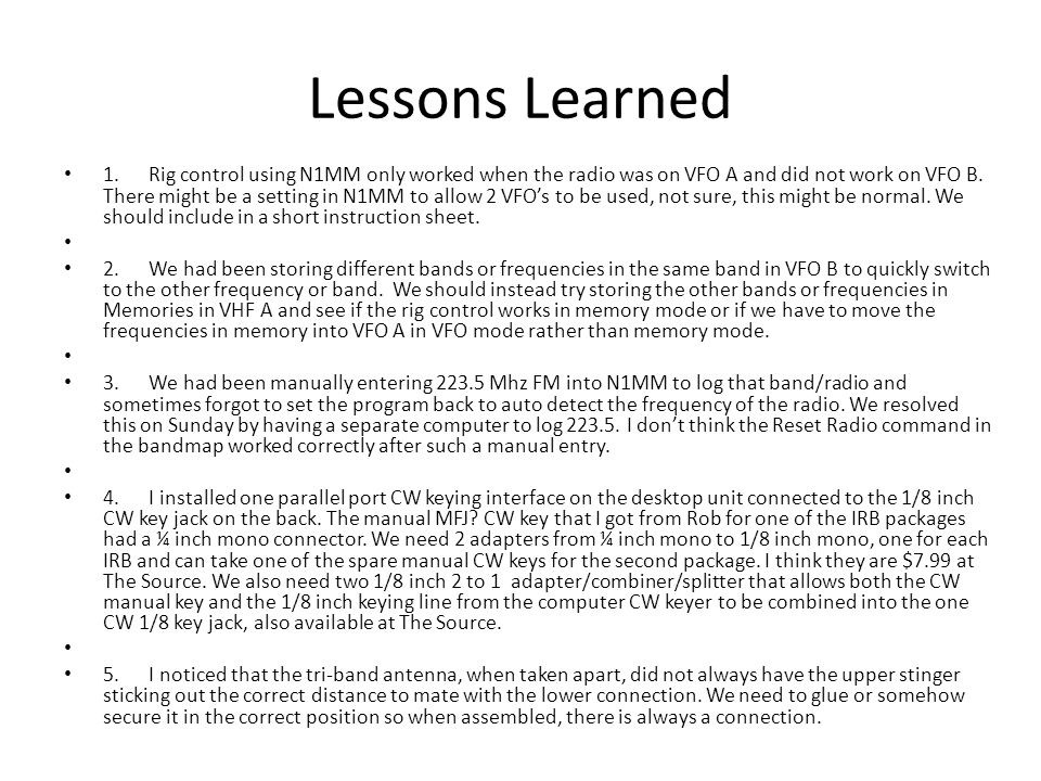 Lessons Learned 1.
