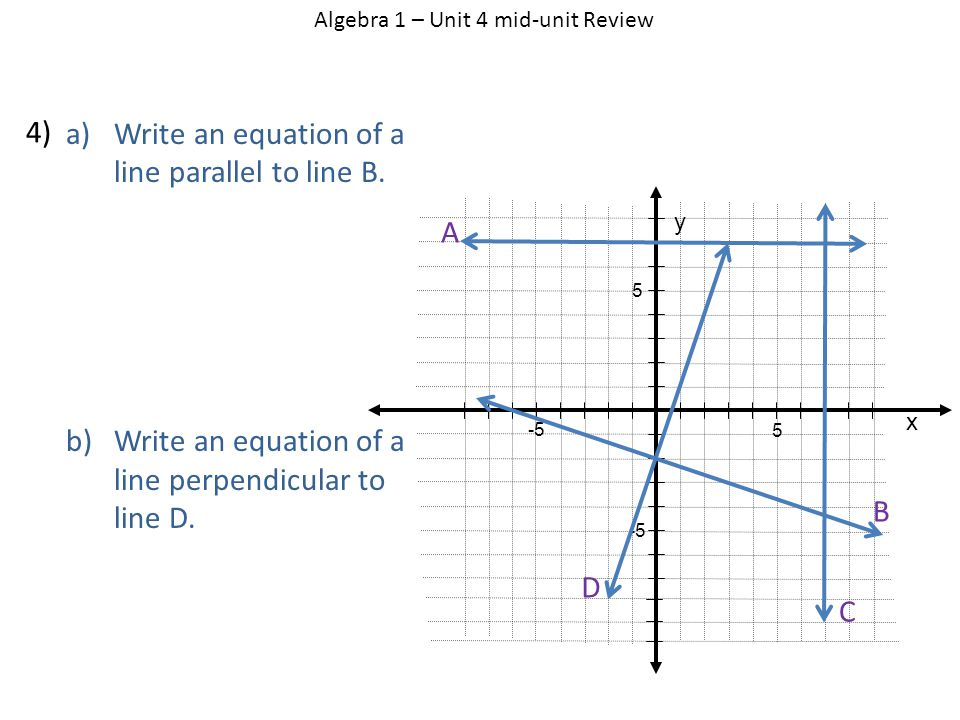 a)Write an equation of a line parallel to line B. b)Write an equation of a line perpendicular to line D. Algebra 1 – Unit 4 mid-unit Review 4) x y 5 5