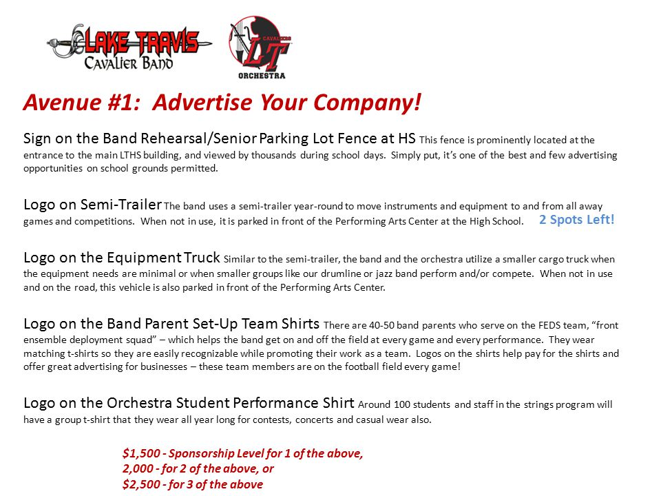 Avenue #1: Advertise Your Company.