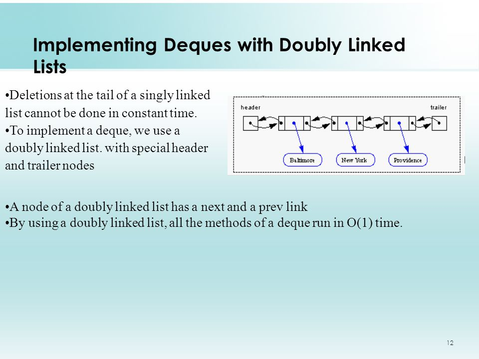 12 Implementing Deques with Doubly Linked Lists Deletions at the tail of a singly linked list cannot be done in constant time.