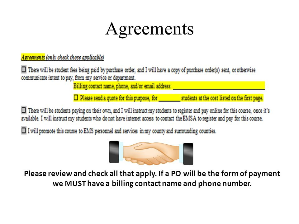 Agreements Please review and check all that apply.