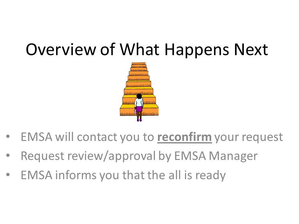 Overview of What Happens Next EMSA will contact you to reconfirm your request Request review/approval by EMSA Manager EMSA informs you that the all is ready