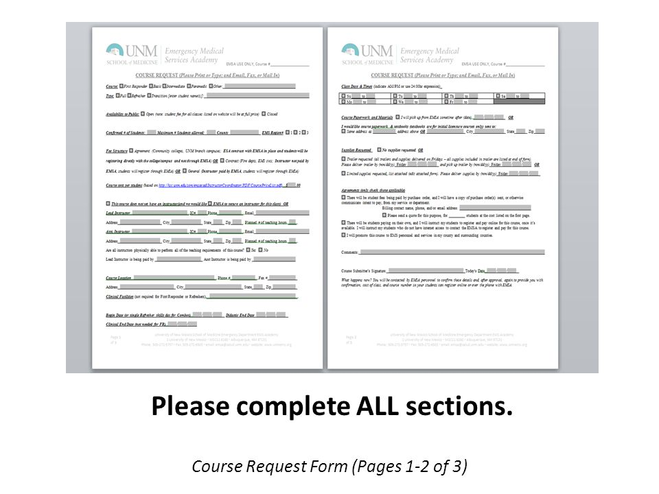 Course Request Form (Pages 1-2 of 3) Please complete ALL sections.