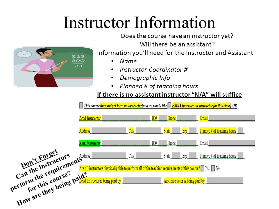 Instructor Information Does the course have an instructor yet.