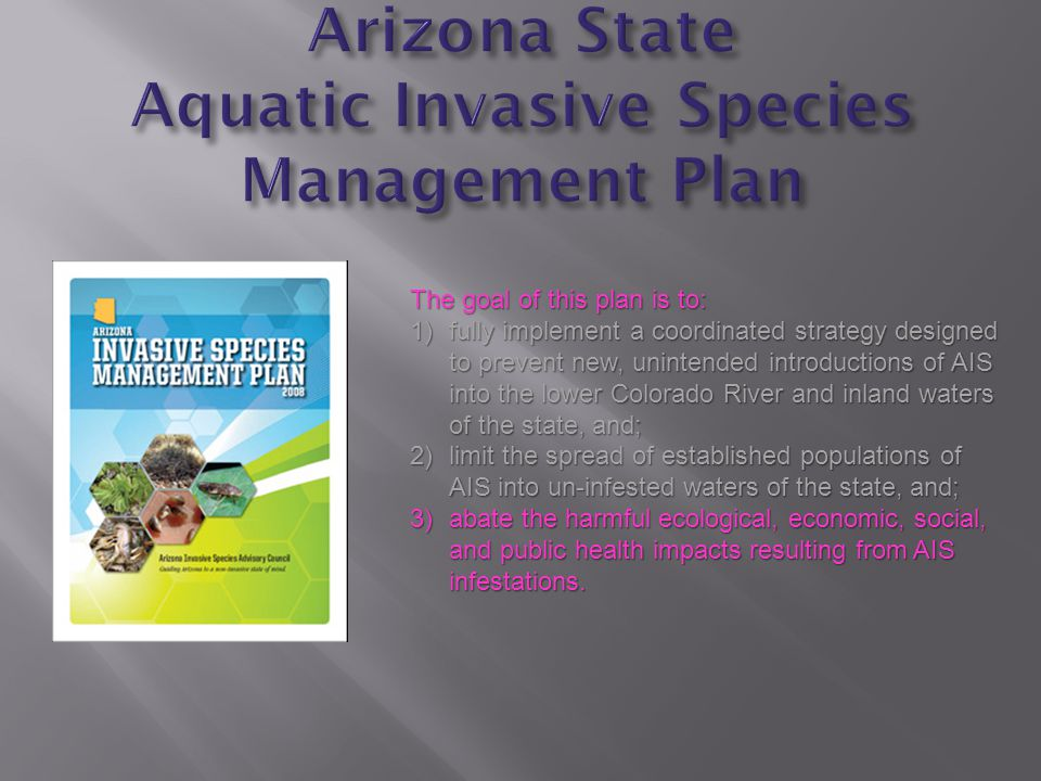 The goal of this plan is to: 1)fully implement a coordinated strategy designed to prevent new, unintended introductions of AIS into the lower Colorado River and inland waters of the state, and; 2)limit the spread of established populations of AIS into un-infested waters of the state, and; 3)abate the harmful ecological, economic, social, and public health impacts resulting from AIS infestations.