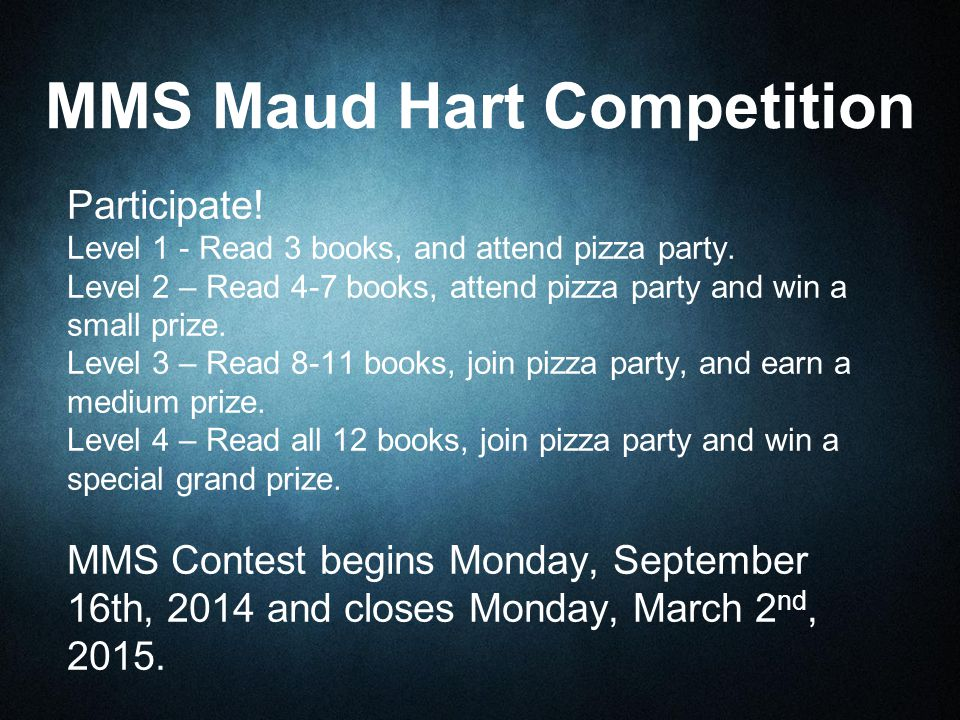 Participate. Level 1 - Read 3 books, and attend pizza party.