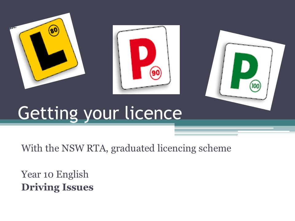 Getting your licence With the NSW RTA, graduated licencing scheme Year 10 English Driving Issues