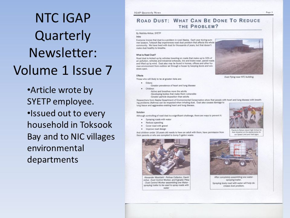 NTC IGAP Quarterly Newsletter: Volume 1 Issue 7 Article wrote by SYETP employee.