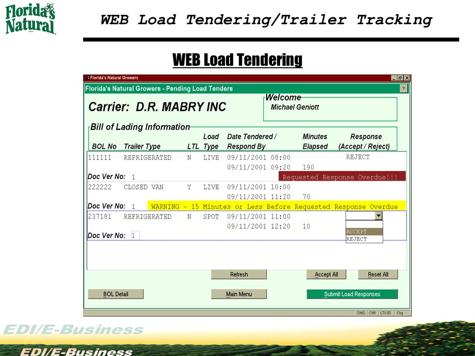 WEB Load Tendering/Trailer Tracking WEB Load Tendering