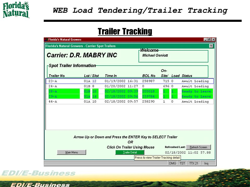 WEB Load Tendering/Trailer Tracking Trailer Tracking