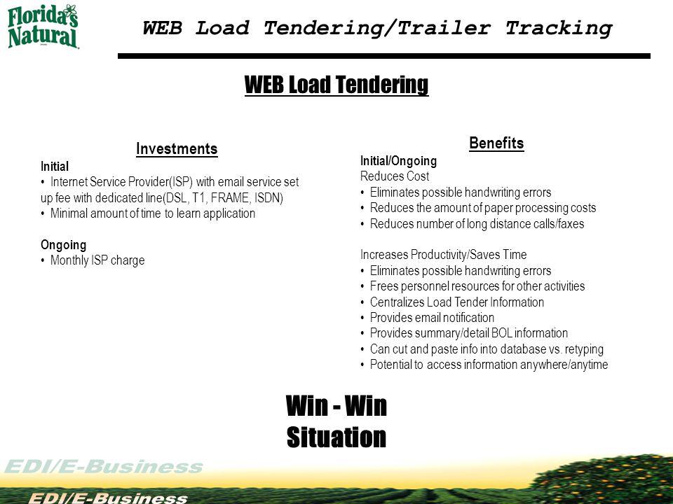 WEB Load Tendering/Trailer Tracking WEB Load Tendering