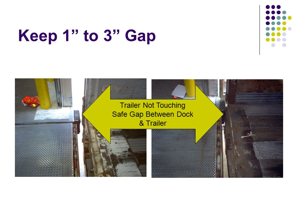 Keep 1 to 3 Gap Trailer Not Touching Safe Gap Between Dock & Trailer