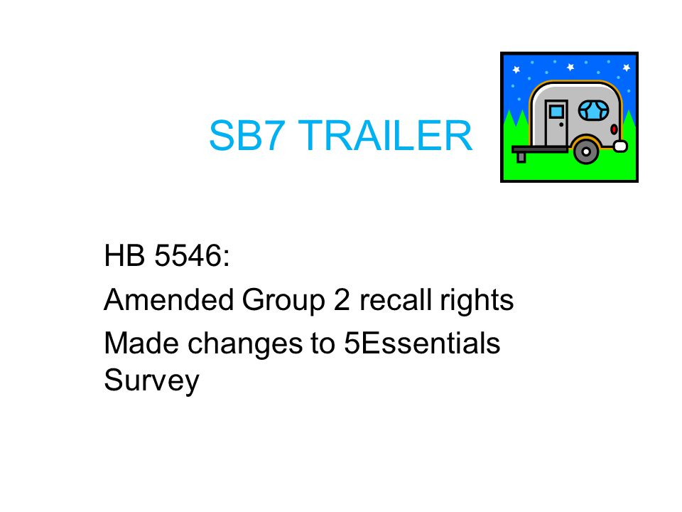 SB7 TRAILER HB 5546: Amended Group 2 recall rights Made changes to 5Essentials Survey