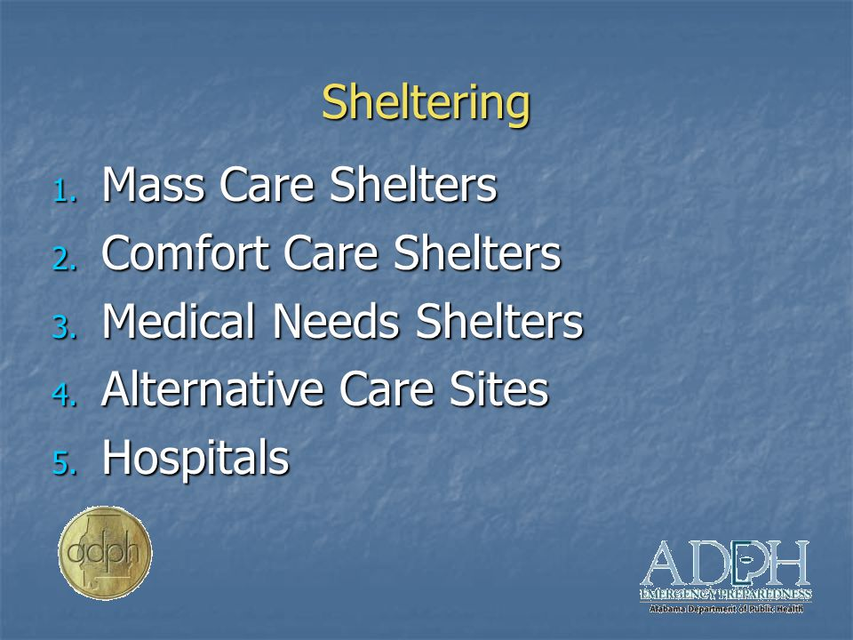 Sheltering 1. Mass Care Shelters 2. Comfort Care Shelters 3.