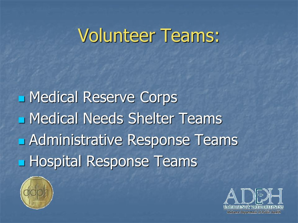 Volunteer Teams: Medical Reserve Corps Medical Reserve Corps Medical Needs Shelter Teams Medical Needs Shelter Teams Administrative Response Teams Administrative Response Teams Hospital Response Teams Hospital Response Teams