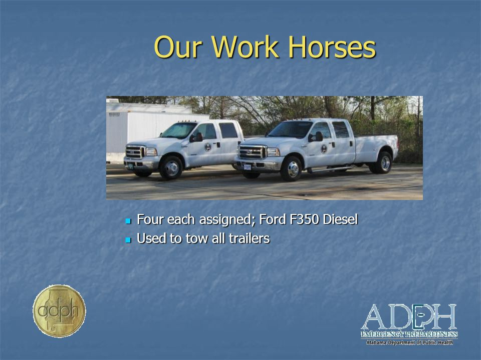 Our Work Horses Four each assigned; Ford F350 Diesel Used to tow all trailers