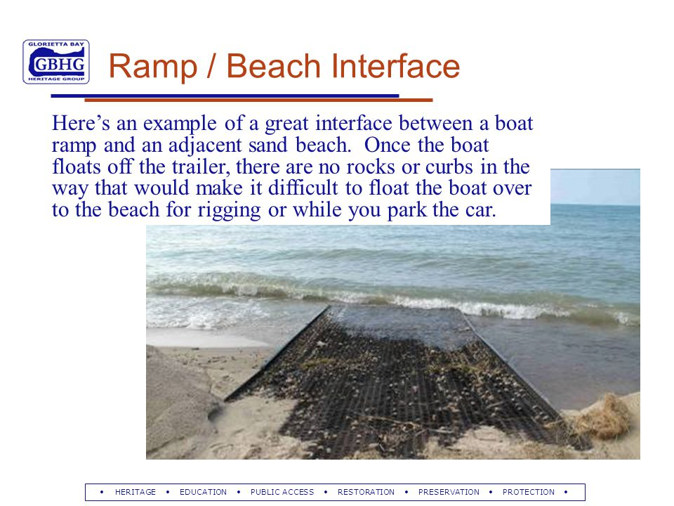 HERITAGE EDUCATION PUBLIC ACCESS RESTORATION PRESERVATION PROTECTION Ramp / Beach Interface Here's an example of a great interface between a boat ramp