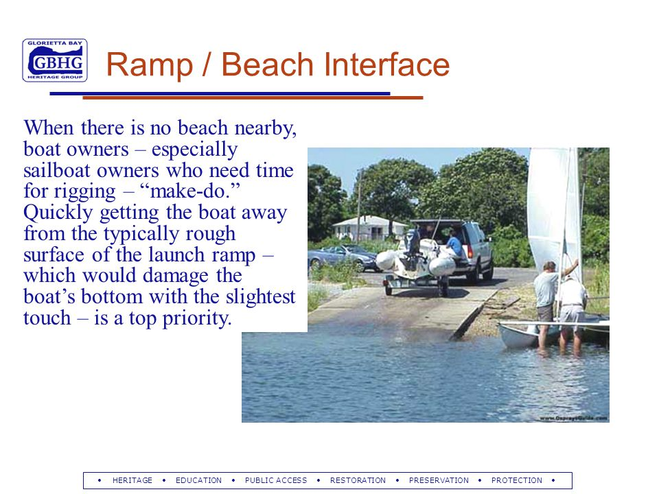HERITAGE EDUCATION PUBLIC ACCESS RESTORATION PRESERVATION PROTECTION Ramp / Beach Interface When there is no beach nearby, boat owners – especially sailboat owners who need time for rigging – make-do. Quickly getting the boat away from the typically rough surface of the launch ramp – which would damage the boat's bottom with the slightest touch – is a top priority.