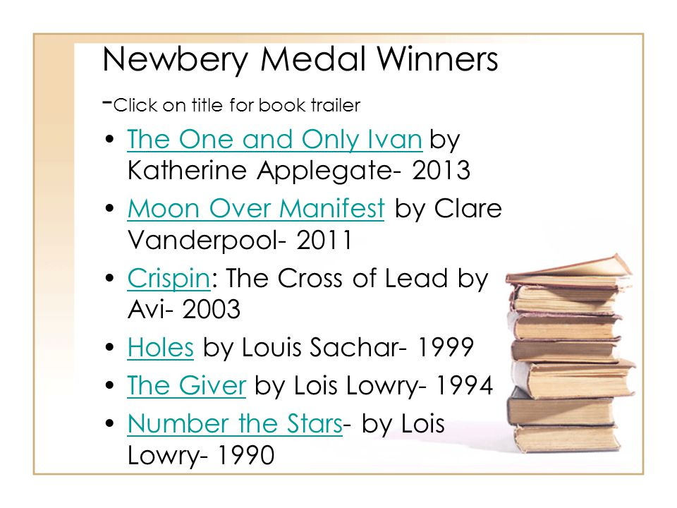 Newbery Medal Winners - Click on title for book trailer The One and Only Ivan by Katherine Applegate- 2013The One and Only Ivan Moon Over Manifest by Clare Vanderpool- 2011Moon Over Manifest Crispin: The Cross of Lead by Avi- 2003Crispin Holes by Louis Sachar- 1999Holes The Giver by Lois Lowry- 1994The Giver Number the Stars- by Lois Lowry- 1990Number the Stars
