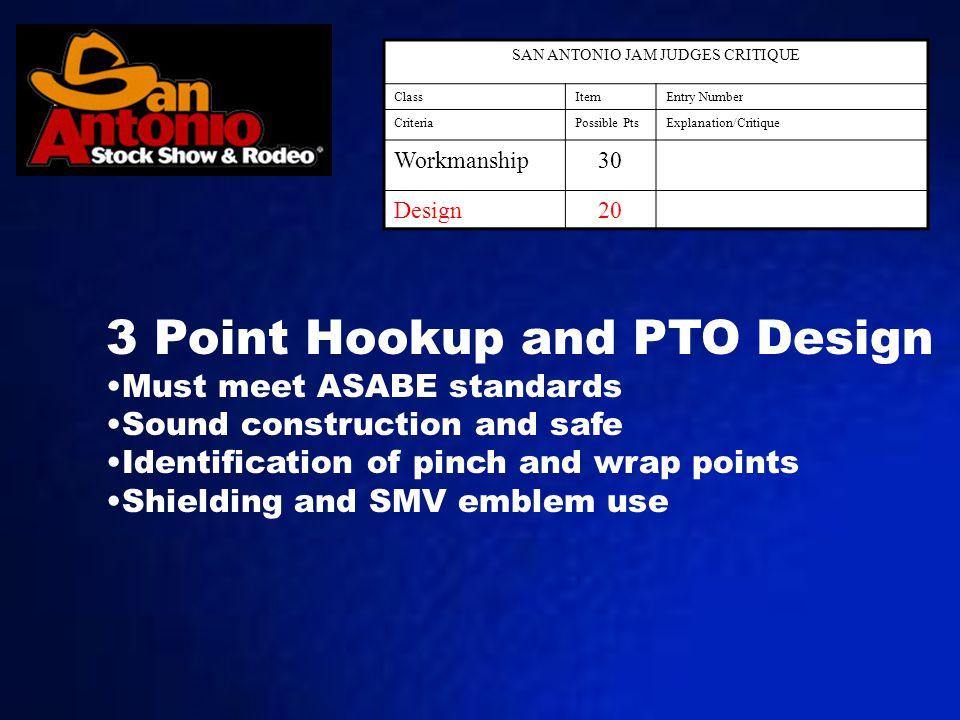SAN ANTONIO JAM JUDGES CRITIQUE ClassItemEntry Number CriteriaPossible PtsExplanation/Critique Workmanship30 Design20 3 Point Hookup and PTO Design Mu