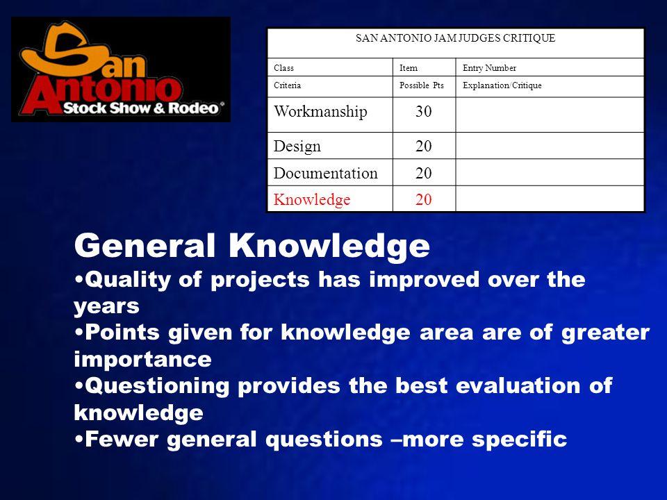 SAN ANTONIO JAM JUDGES CRITIQUE ClassItemEntry Number CriteriaPossible PtsExplanation/Critique Workmanship30 Design20 Documentation20 Knowledge20 Gene
