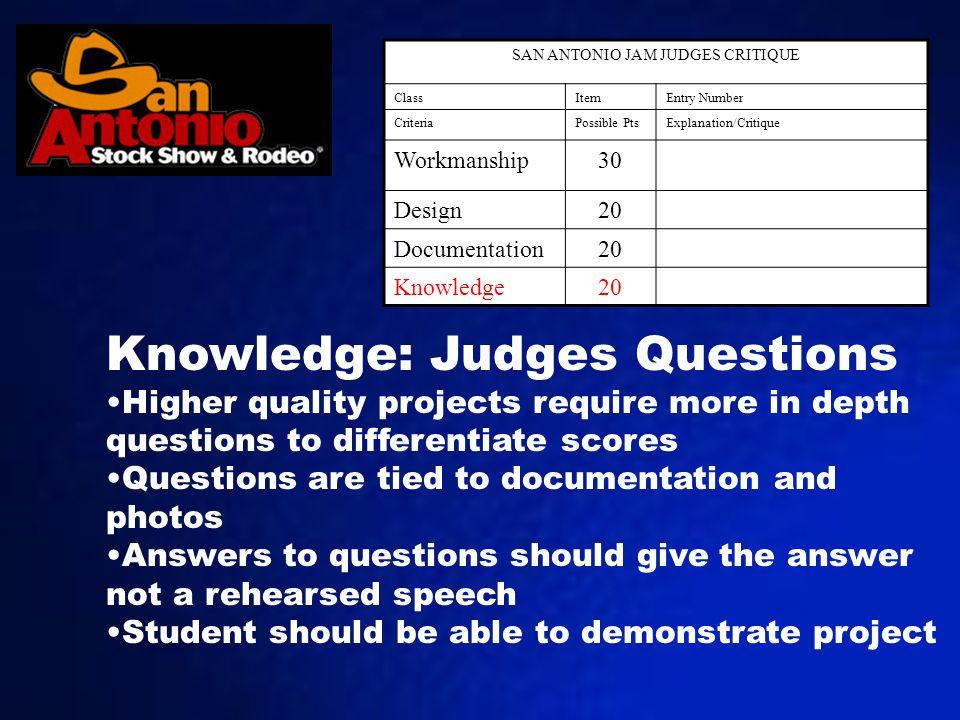 SAN ANTONIO JAM JUDGES CRITIQUE ClassItemEntry Number CriteriaPossible PtsExplanation/Critique Workmanship30 Design20 Documentation20 Knowledge20 Know