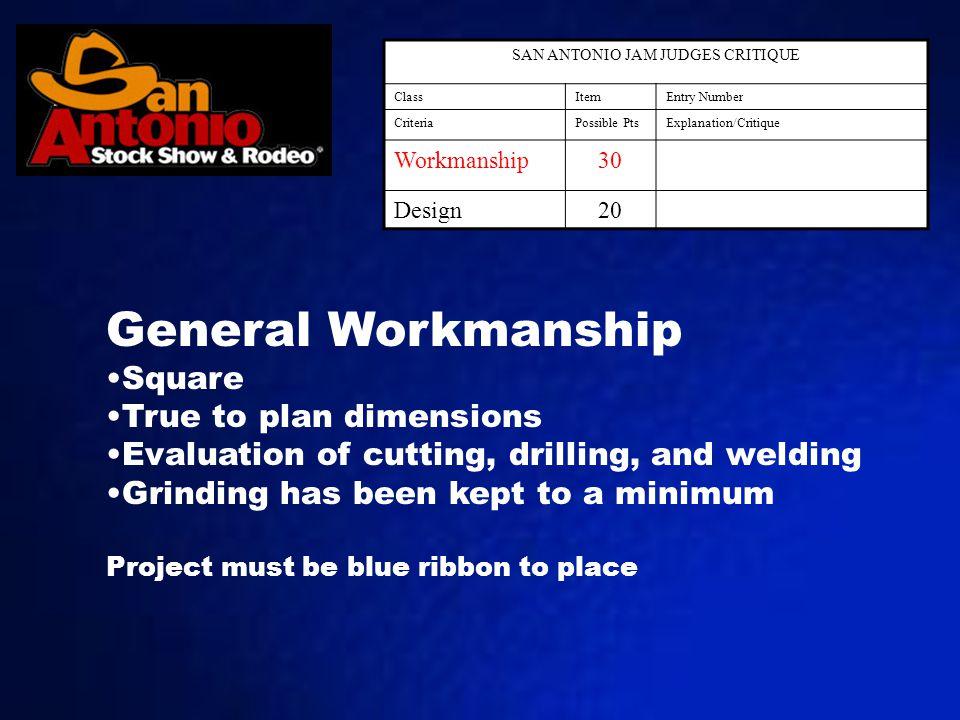 SAN ANTONIO JAM JUDGES CRITIQUE ClassItemEntry Number CriteriaPossible PtsExplanation/Critique Workmanship30 Design20 General Workmanship Square True