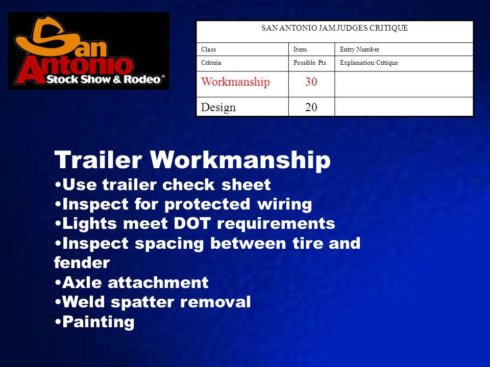 SAN ANTONIO JAM JUDGES CRITIQUE ClassItemEntry Number CriteriaPossible PtsExplanation/Critique Workmanship30 Design20 Trailer Workmanship Use trailer