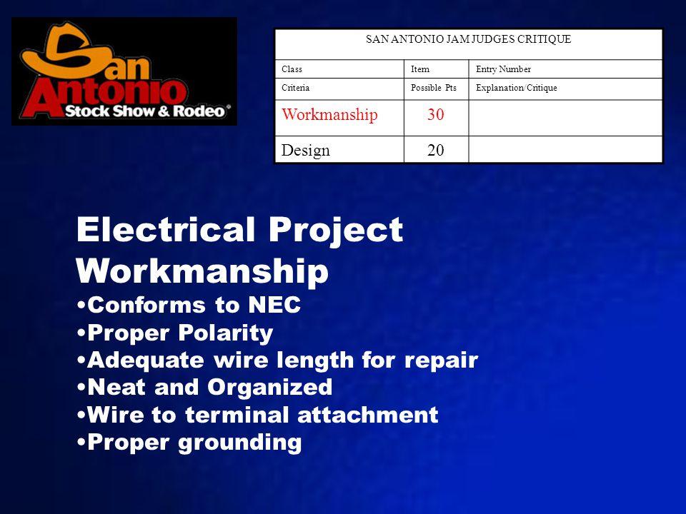 SAN ANTONIO JAM JUDGES CRITIQUE ClassItemEntry Number CriteriaPossible PtsExplanation/Critique Workmanship30 Design20 Electrical Project Workmanship C