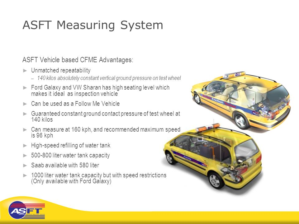 ASFT Measuring System ASFT Vehicle based CFME Advantages: ► Unmatched repeatability – 140 kilos absolutely constant vertical ground pressure on test w