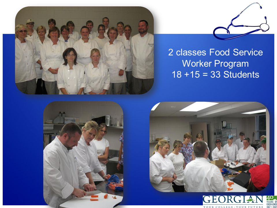 2 classes Food Service Worker Program 18 +15 = 33 Students