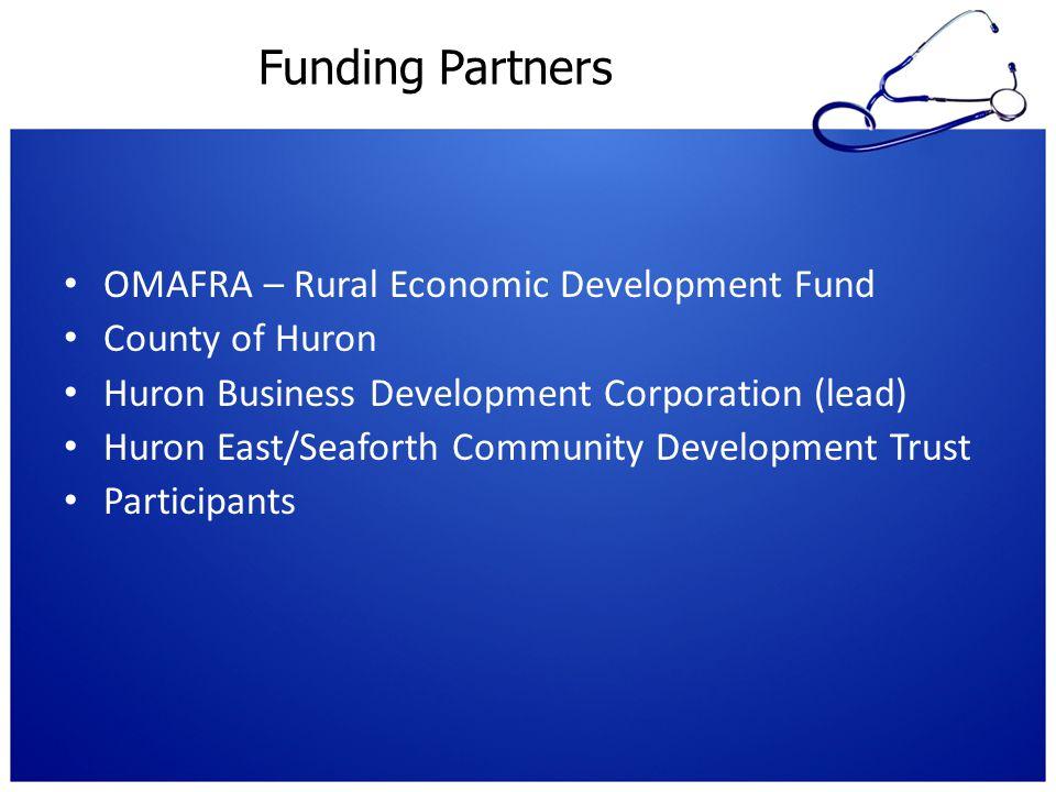 Funding Partners OMAFRA – Rural Economic Development Fund County of Huron Huron Business Development Corporation (lead) Huron East/Seaforth Community Development Trust Participants