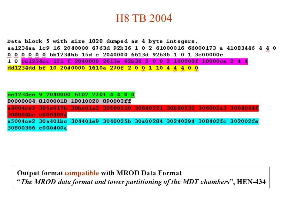 H8 TB 2004 Output format compatible with MROD Data Format The MROD data format and tower partitioning of the MDT chambers , HEN-434