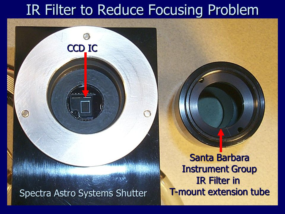 Santa Barbara Instrument Group IR Filter in T-mount extension tube CCD IC Spectra Astro Systems Shutter IR Filter to Reduce Focusing Problem