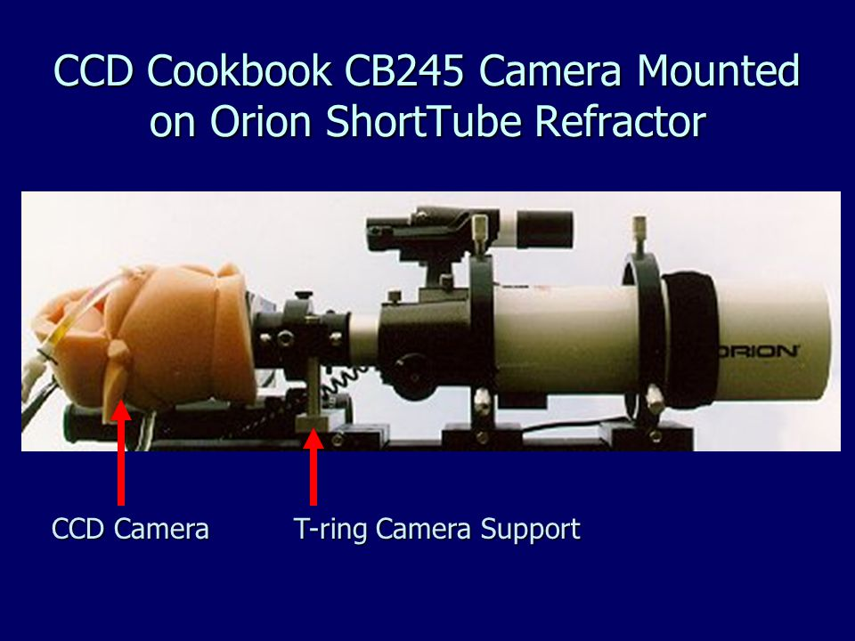 CCD Cookbook CB245 Camera Mounted on Orion ShortTube Refractor T-ring Camera Support CCD Camera