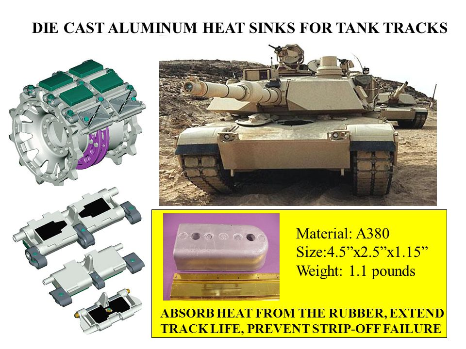 DIE CAST ALUMINUM HEAT SINKS FOR TANK TRACKS ABSORB HEAT FROM THE RUBBER, EXTEND TRACK LIFE, PREVENT STRIP-OFF FAILURE Material: A380 Size:4.5 x2.5 x1.15 Weight: 1.1 pounds