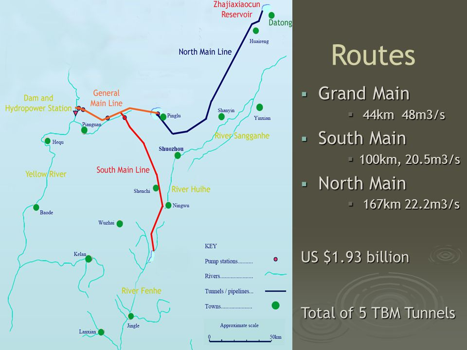  Grand Main  44km 48m3/s  South Main  100km, 20.5m3/s  North Main  167km 22.2m3/s Routes US $1.93 billion Total of 5 TBM Tunnels