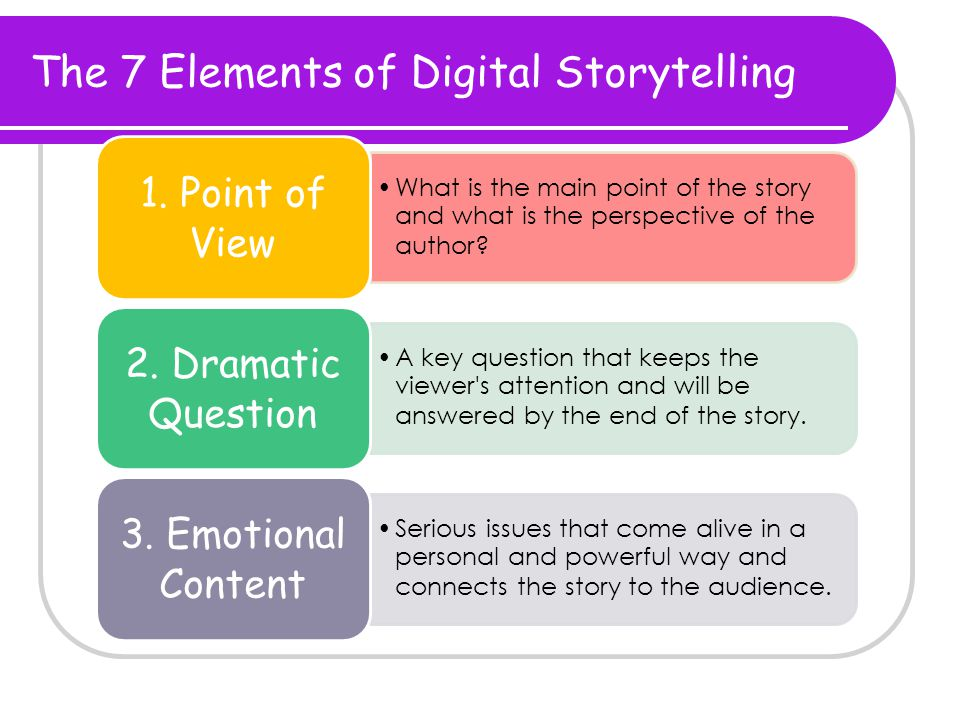 The 7 Elements of Digital Storytelling What is the main point of the story and what is the perspective of the author.