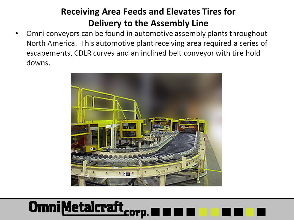 Receiving Area Feeds and Elevates Tires for Delivery to the Assembly Line Omni conveyors can be found in automotive assembly plants throughout North A