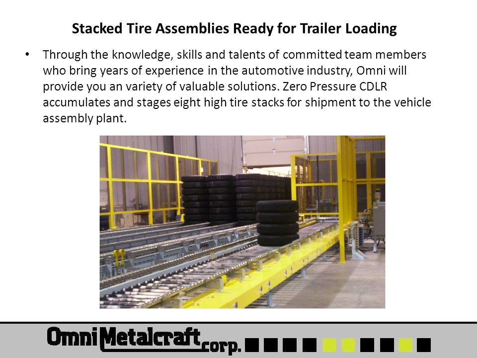 Stacked Tire Assemblies Ready for Trailer Loading Through the knowledge, skills and talents of committed team members who bring years of experience in the automotive industry, Omni will provide you an variety of valuable solutions.