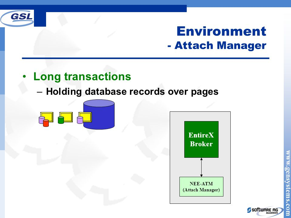 www.gensystems.com Environment - Attach Manager EntireX Broker NEE-ATM (Attach Manager) Long transactions –Holding database records over pages
